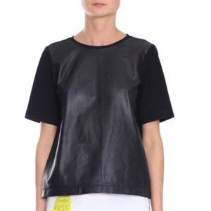 NWT Tibi Black Perforated Leather Short Sleeve Top